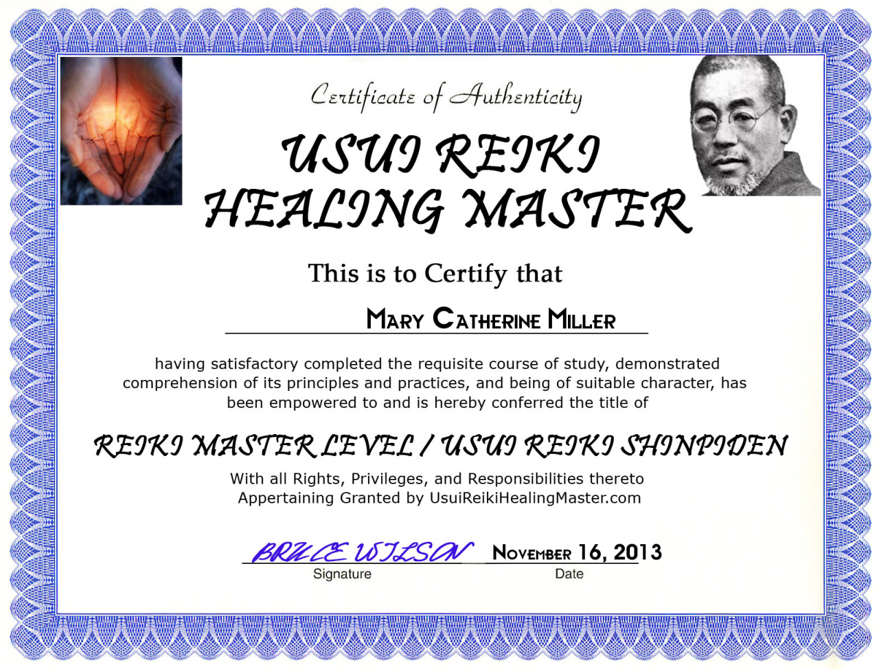 Nursehealer certifications mary catherine miller reiki master level xflitez Images