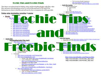 Techie Tips and Freebie Finds Class